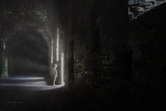 Just. One. More. Step. Get into the light. (Jochem.Herremans) Tags: girl dark young beautiful abbey step light dare abandon urban urbex old stone sphere nice scary scared