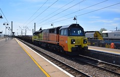 Colas 70806 running through Ely, with a service from Hoo Junction to Whitemoor, whilst a Volker Rail track machine is being serviced in the background. 01 08 2018 (pnb511) Tags: loco locomotive engine diesel train engines diesels colas rail freight westangliamainline class70 6l37