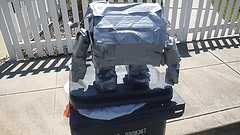 04Aug2018-DuctTapeBot-P1030288 (aaron_anderer) Tags: maker mech robot cardbard livermore garbage toy duct tape duck