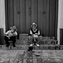 Enjoying a Cigar (annemcgr) Tags: cuba trinidad cigar people street smoke blackwhite monochrome fineartphotography