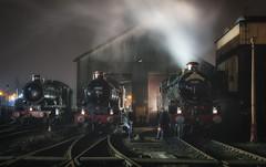Preparations for the Night Train (photofitzp) Tags: 5043 5080 7029 castleclass gwr martincreese railways smoke steam tyseley vintagetrains