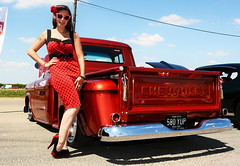 Holly_2203 (Fast an' Bulbous) Tags: classic american car vehicle automobile oldtimer santa pod dragstalgia people outdoor pinup model girl woman hot sexy chick babe long brunette hair wiggle dress high heels stockings nylons pickup truck