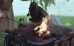 French Creek Heritage Event (rentavet) Tags: blacksmithing blacksmith frenchcreekheritageevent cochrantonpa ferrania100asa nikkormatel nikkor105mm analog crawfordcountypa forge