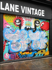 Time (Alex Ellison) Tags: time osv shop store shutter throwup throwie eastlondon urban graffiti graff boobs