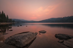 Sunrise, Lake Alpine (mclcbooks) Tags: landscape lakescape sunrise dawn morning clouds sky reflections rocks trees lakealpine california sierras longexposure le