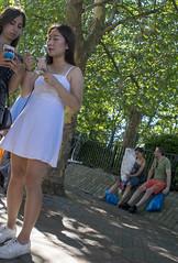 DSC_6407a Columbia Road Sunday Flower Market London Oriental Lady in White Summer Dress on the Phone (photographer695) Tags: columbia road sunday flower market london oriental lady white summer dress phone