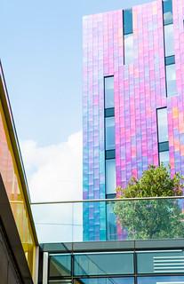 Build your rainbow, brick by brick.   #ivre #graphic #city #lightandshadow #geometric #lines #abstract #modernist #street #urban #rainbow #architecture #architecturelovers #thisislondon #art #streetphotography #nikon #agameoftones #streetview  #streetart