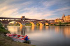 Pavia (Dario654321) Tags: pavia lombardia travel europe italy italia fiume river boat nave landscape city reflections ponte coperto