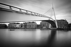 Passerelle du Bassin du Commerce (Silviu Gheorghe) Tags: blackandwhite france lehavre urban city reflection longexpousure clouds bridge fineart