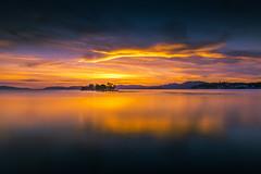 sunset 3591 (junjiaoyama) Tags: japan sunset sky light cloud weather landscape orange contrast color bright lake island water nature summer calm dusk serene reflection