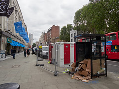 Tottenham Court Road. 20180815T12-11-45Z (fitzrovialitter) Tags: peterfoster fitzrovialitter city camden westminster streets rubbish litter dumping flytipping trash garbage urban street environment london fitzrovia streetphotography documentary authenticstreet reportage photojournalism editorial captureone olympusem1markii mzuiko 1240mmpro microfourthirds mft m43 μ43 μft geotagged oitrack exiftool