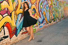 Along the alley words (radargeek) Tags: pyramidguy aylamodel aylarose ayla model modeling photoshoot oklahomacity plazadistrict heels highheels lbd blackdress alley tattoo earrings graffiti mural 2016