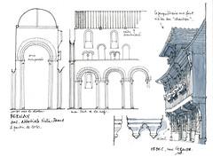 Orbec, Bernay (gerard michel) Tags: france normandie architecture abbaye élévation maison colombages croquis sketch