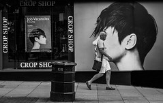 I said a crop - not a shave... (+Pattycake+) Tags: man street cropshop hairstylist norwich pavement city bw