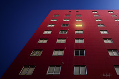 Juliet's room? (RuiFAFerreira) Tags: architecture blue room red building upward light wide windows yellow canon color efs1018mmf4556isstm exterior portugal shadow uwa w