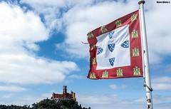 Symbol of Sintra (Mauro Hilário) Tags: monument sky flag portugal sintra clouds palace palácio pena hill wide