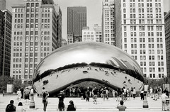 Reflections (johnlishamer.com) Tags: 2018 35mm ilfordfp4125 lishamer michiganave millenniumpark nikonf3 slr chicagoil cloudgate family film johnlishamercom rodinal summer