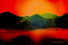 THE MIDNIGHT SUMMER SUN. (Viktor Manuel 990.) Tags: lake lago mountains sky sun sol sunset summer verano midnight medianoche digitalpainting pinturadigital querétaro méxico victormanuelgómezg