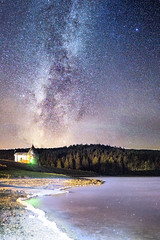 Milky Way Lake (Bulda9) Tags: summer august lake light nature natural night reflection mirror mountain beach stones dam forest trees