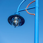 Blue electric street lamp and post thumbnail