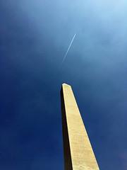 Plane over Washington Monument (A_Renee_88) Tags: washington monument dc tourism usa united states america plane blue sky obelisk tall skyscraper angle impressive awesome inspiring history