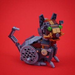 Clockwork Kitten (BrickinNick) Tags: lego cat kitten clockwork steampunk animals cute mechanical gears
