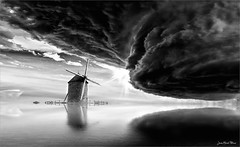Energy (Jean-Michel Priaux) Tags: quern black paysage landscape surreal clouds lenticular terrific white fear screep scare scarry sky tempest energy moulin wind photoshop hdr paint painting monochrome water matte