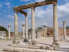 Space frame (Adaptabilly) Tags: stone shadow architecture roman travel ruins iphotooriginal ephesus woman brick sky column efes ephesos turkey clouds ancient lumixg1 greek asia