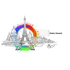 Paris landmarks with colored background (Hebstreits) Tags: abstract architecture art background beautiful black building city color cut design drawing eifel eiffel europe famous fashion france french hand high illustration ink isolated landmark landmarks louvre monument paint paper paris pink poster romantic splashes style symbol tour tourism tower town travel urban vacation vector view watercolor white world