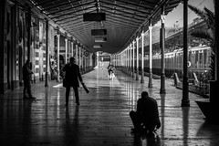 lonely station / crossing paths (Özgür Gürgey) Tags: 2018 50mm bw d750 nikon sirkeci architecture diagonal lines people repetition silhouettes street istanbul