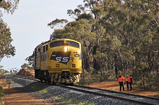 GM10 and 442s5 stop on the edge of Maryborough to wait for a Vline pass to clear
