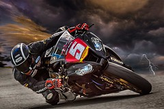 Welcome to the machine. (bainebiker) Tags: clouds field landscape lightning sky spring storm turbulentweather motorcycle rider motorcycleracer compositeimage