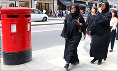 `2365 (roll the dice) Tags: london westminster streetphotography culture sad mad fun funny happy reaction people fashion hot sunny weather shops shopping england uk art classic unknown canon tourism tourists pretty sexy girls muslim traffic empty busy crowd portrait strangers candid travel transport regentstreet w1 westend sunglasses hijab post royalmail letterbox surreal sandro politics burka veiled mirror reflections twin double lookalike comedy urban unaware