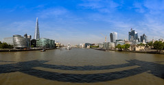 London panoramic view from Tower Bridge (Dick Bulch) Tags: riverthames morelondon shardofglass walkietalkie gherkin towerbridge cheesegrater cityoflondon