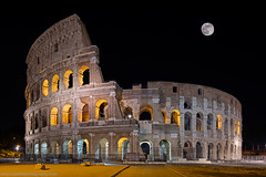 The Colosseum @ Rome, Italy (Avisekh) Tags: colosseum moon rome italy architecture wwwavisekhphotographycom city europe capital historical night canon tripod 5sdr 24tse rrs