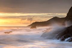 Devonshire Gold (Dave Watts Photography) Tags: coast devon davewatts sunset seascape landscape gold yellow orange rocks spray crashing waves surf le longexposure canon