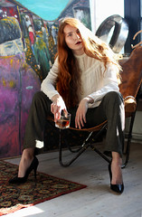 (gridneva.gallery) Tags: redlips redhair ginger gingerhair woman girl style heels drink whiskey beautiful beauty pose photosession photography sunny sunlight longhair