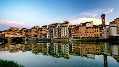 Florentine Reflection on Arno River (fongpei) Tags: firenze florence italy arno river water clouds sunset sunrise bridge italian pontevecchio