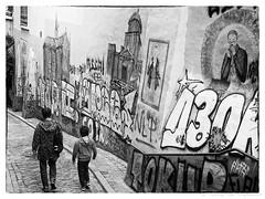 Les Marolles (vanregemoorter) Tags: monochrome blackandwhite people tag street city bruxelles brussel