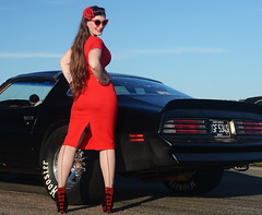 Holly_9190 (Fast an' Bulbous) Tags: pontiac transam classic american muscle car vehicle automobile girl woman wife hot sexy chick babe pinup model red wiggle dress high heels stockings nylons people outdoor santapod nikon