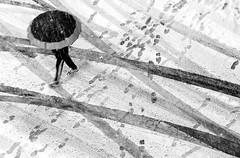 Huellas (Jo March11) Tags: bilbao biz nieve invierno huellas paraguas ieletxigerra idoiaeletxigerra eletxigerra canon canoneos blancoynegro monocromo monocromático
