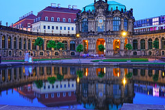 Wonderful evening reflection of Zwinger Palace, Dresden (Andrey Sulitskiy) Tags: dresden germany