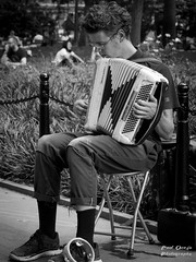 One Man Band (Paul Ocejo) Tags: one man band accordion nyc ny new york city washington square park street photography bw performance