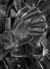 Hands (arbyreed) Tags: arbyreed monochrome bw blackandwhite hands statue claspinghands holding metal metallic close closeup prayinghands begginghands