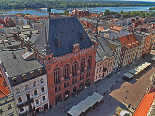 From clock tower building Torun city view