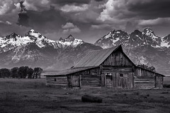Moulton barn in B&W (Browtine1) Tags: black white mormon row abandoned barn mountains gtnp grand teton national park wyoming clouds storms