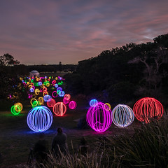 Valley of Lights (WayneG58) Tags: valleyoflights petersolness spheres colourful colour lowlight night longexposure lightspinning sunset orbs centennialpark newsouthwales australia au