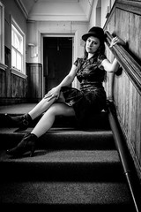 In my lair... (teltone) Tags: beauty portrait woman sony sonyrx100 shoot subject actress vintage fashion retro face style aperture vogue photographer artist