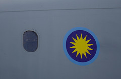 Logo on aircraft of Singapore Air Force (phuong.sg@gmail.com) Tags: aeronautical aeroplane air airforce aircraft airplane allied aviation circle closeup command crest detail famous flight force great historic history icon logo markings metal military mod plane raf roundel royal sign signage spitfire squadron subculture symbol target united warplane wartime