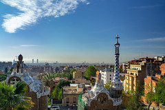 Barcelona From Parc Guell (fate atc) Tags: antonigaudi barcelona carmelhill catalonia euselaguell parcguell parkguell pavilion spain architecture building ceramics design entrance modernist moldings mosaic